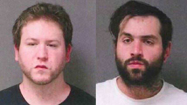 Zachary Jurewicz and Eric Rawson are accused of breaking into two homes in Tolland and stealing a number of items, including a wedding cake top. (State police)
