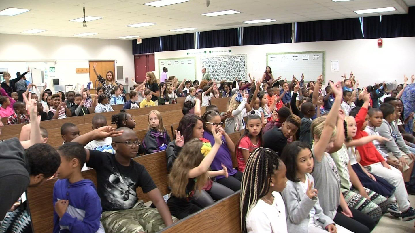 Students at the Clover Street School in Windsor were welcomed back to school on Tuesday morning. (WFSB)
