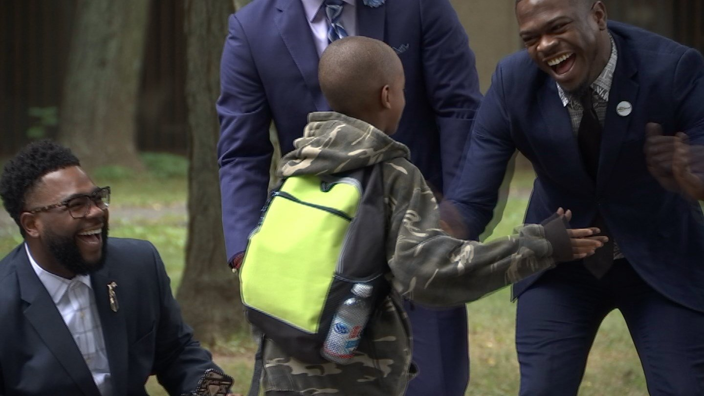 Students were welcomed back to school with high-fives and cheers in Hartford on Tuesday morning. (WFSB)