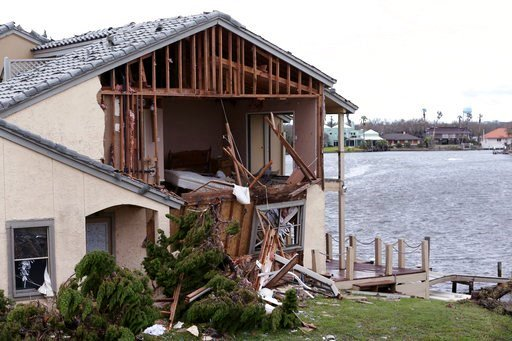 Damage to the Bay House Condominiums is shown in Rockport, Texas in the wake of Hurricane Harvey on Monday. (Rachel Denny Clow/Corpus Christi Caller-Times via AP)