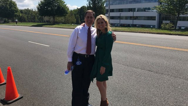 Bruce DePrest and Erin Connolly are outside our studios collecting donations for Houston. (WFSB)