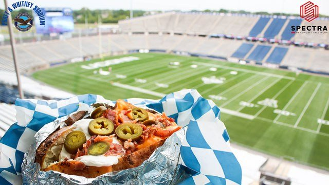 The giant-loaded baked potato is one of the news concessions items at Pratt & Whitney Stadium (Spectra by Comcast Spectacor)
