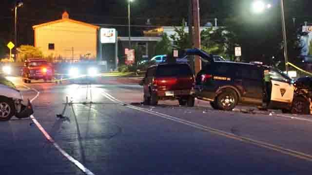 A police cruiser was involved in a crash on Thursday evening (WFSB)