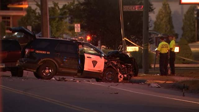 A Thomaston police officer was taken to the hospital on Thursday after a crash (WFSB)