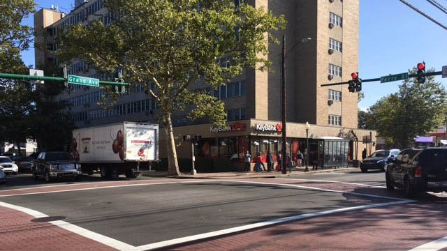 A crossing guard was struck at Grand Avenue and Ferry Street in New Haven on Friday morning. (WFSB)