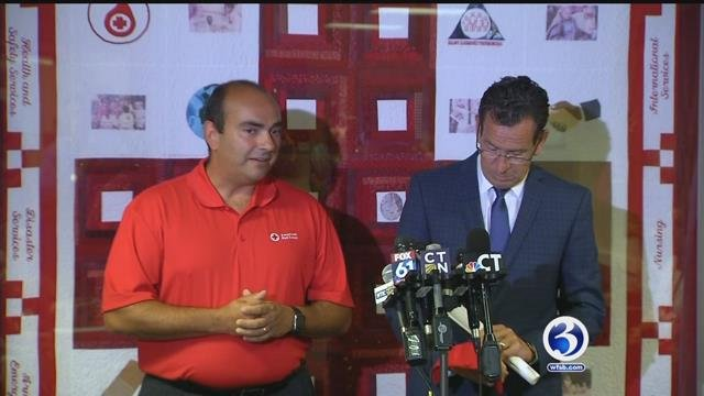 Governor thanks the American Red Cross volunteers for their support. (WFSB)