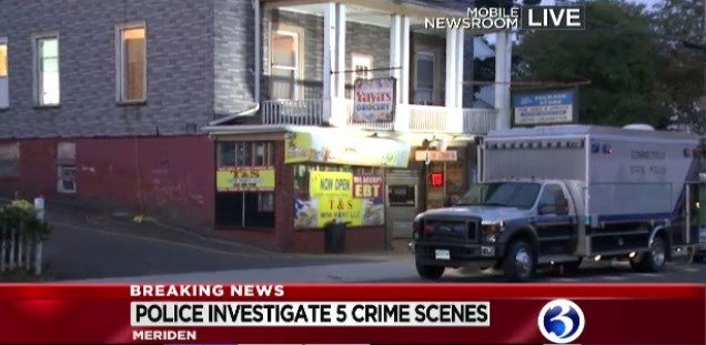 Local and State Police continue to investigate on Britannia Street in Meriden.  (WFSB)