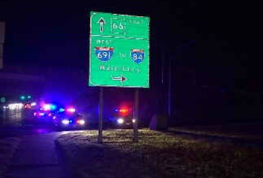 Crash scene overnight on I-691 in Meriden.  (WFSB)