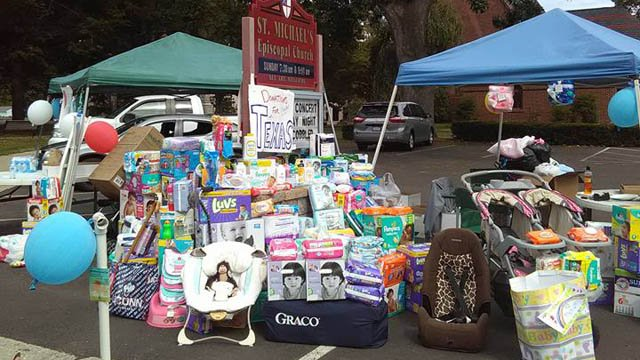 Organizers of a diaper drive at St. Michael's Episcopal Church are looking for a way to get their donations down to Texas. (Facebook)
