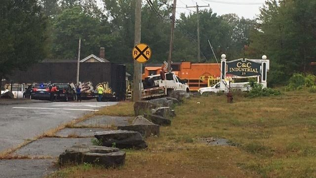 Route 190 in Stafford was closed when a car struck a train on Wednesday morning. (WFSB)