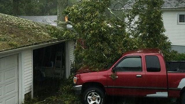 A photo of damage on Old Buddington Road in Groton. (Racheal Hatt/iWitness)