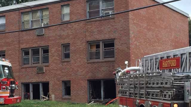 Crews battled a fire in Hartford on Wednesday (WFSB)