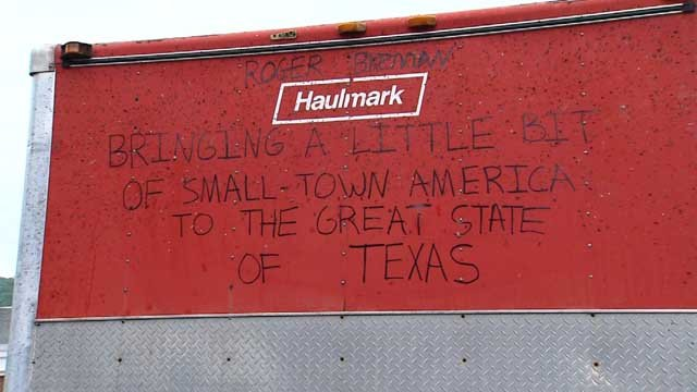 Messages of gratitude were written all over the trailer the firefighters drove down to Texas (WFSB)