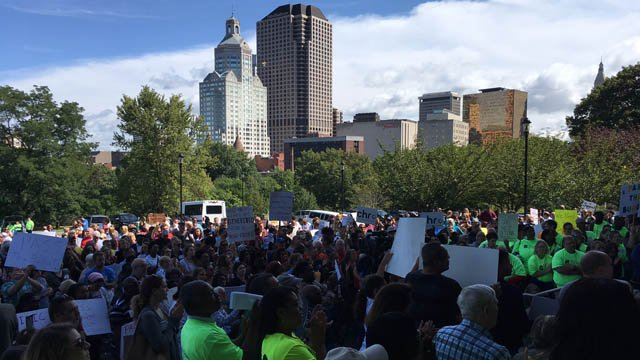 A rally was held in Hartford on Thursday to urge lawmakers to pass a state budget. (WFSB)