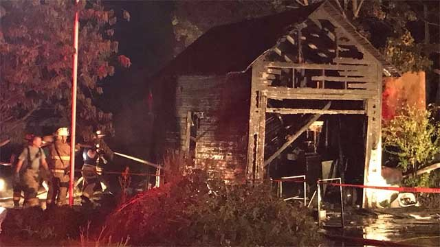 A garage fire broke out in Shelton on Thursday evening. (WFSB)