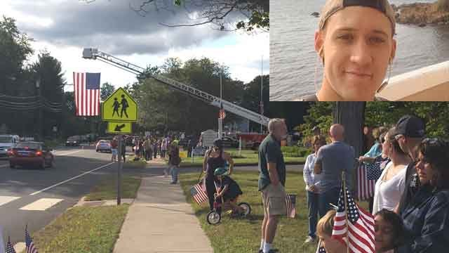 Groups gathered to honor Electronics Technician 3rd Class Dustin Louis Doyon of Suffield. (WFSB/Family photo)