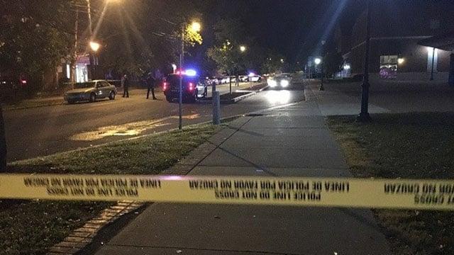 Police and crime scene tape blocks off Vernon Street.  (WFSB)