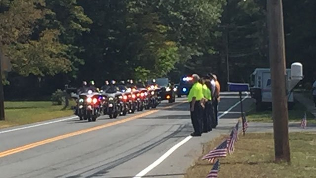 The funeral procession for Petty Officer Dustin Doyon. (WFSB)