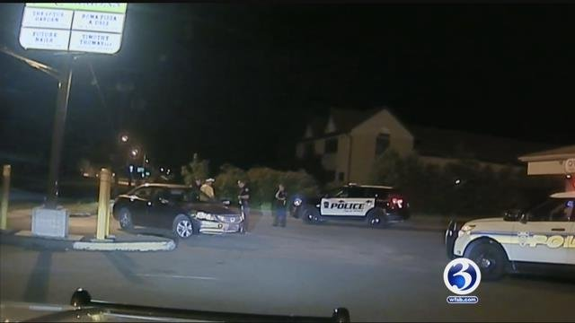 Video was released of a Hartford police detective's arrest in Plainville. (WFSB)