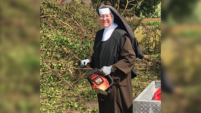 Sister Margaret Ann knew of a chainsaw in her school's closet, so she thought nothing of ripping into a downed tree blocking a road. (Source: CNN)