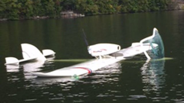 "A small seaplane made a ""rough landing"" on Candlewood Lake in New Fairfield on Friday afternoon.  (CT State Police)"