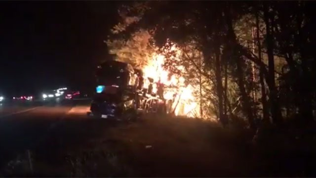 A car carrier caught on fire on Interstate 84 in Ashford on Friday, (CT State Police)
