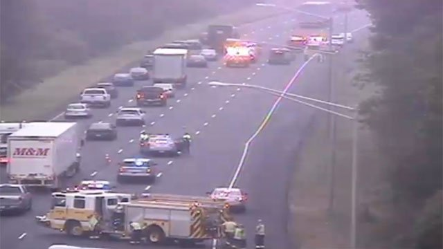 A person died after a crash on Interstate 91 in Rocky Hill on Saturday morning. (CT DOT)