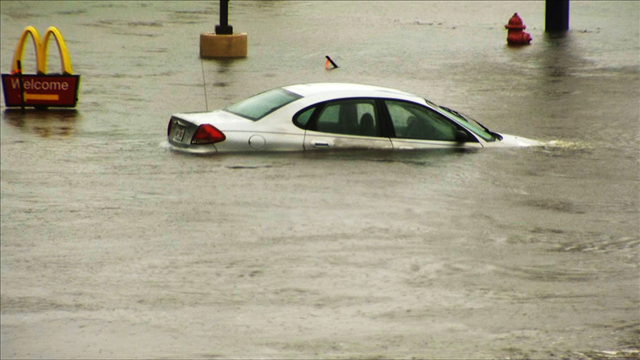 A car flooded by Harve in the Houston area. (MGN)