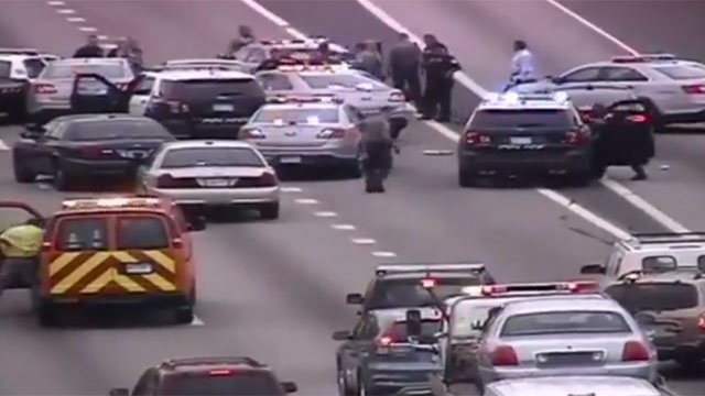 One person in custody after police pursuit on I-91 in Hartford. (CT DOT)