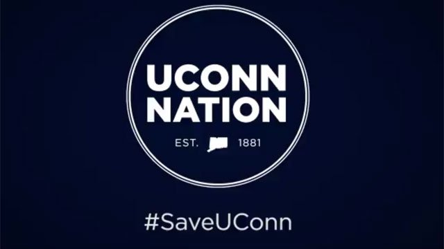 #SaveUConn was posted at the end of the video. (UConn)