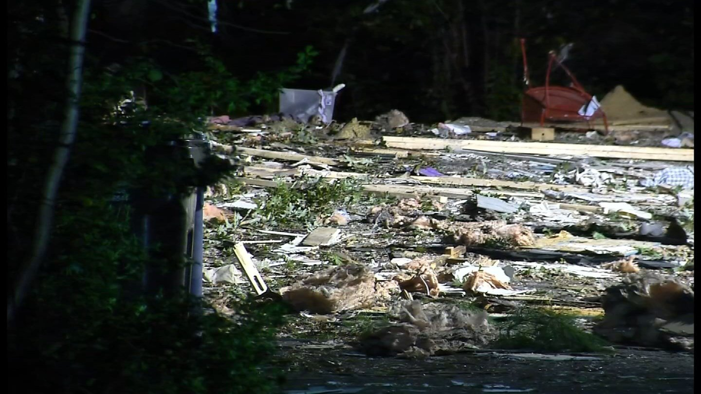 A mobile home explosion injured two people at the Evergreen Springs mobile home park in Clinton early Thursday morning. (WFSB)
