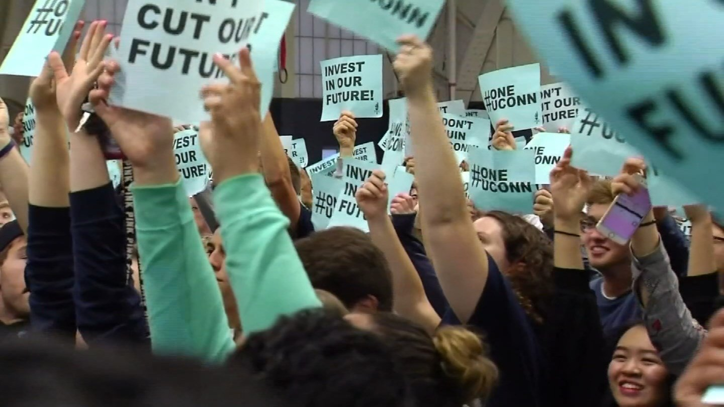 UConn students protested against the GOP budget earlier this week. (WFSB)