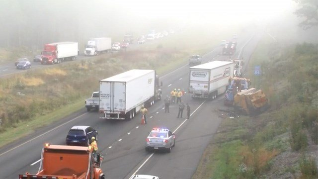 A street sweeper and a tractor trailer were involved in a crash on I-84 in Southbury on Tuesday morning. (WFSB)
