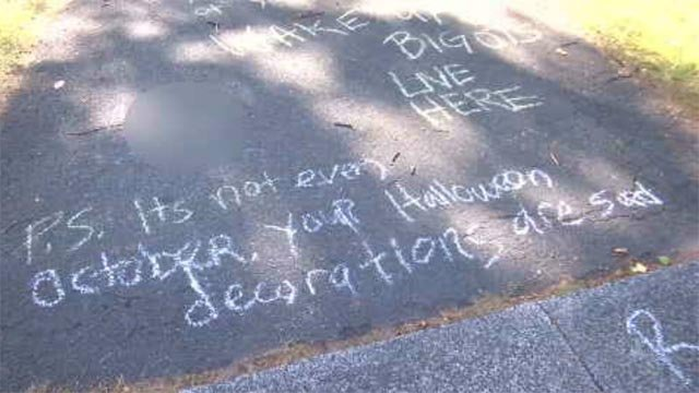 Some racial and politically charged messages were left on a family's driveway (WFSB)