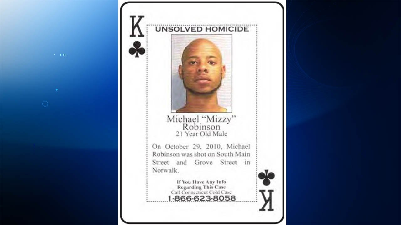 Michael Robinson's murder was featured on playing cards that were circulated among Connecticut inmates. (Norwalk police)