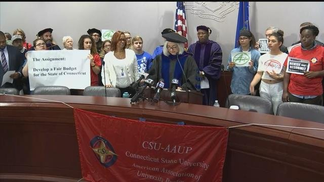 The Connecticut State University American Association of University Professors seeks to get higher education cuts out of the state budget. (WFSB)