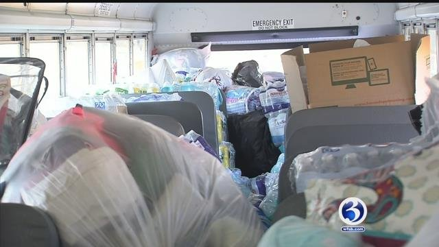 The group has filled two school buses with supplies to send to Puerto Rico (WFSB)