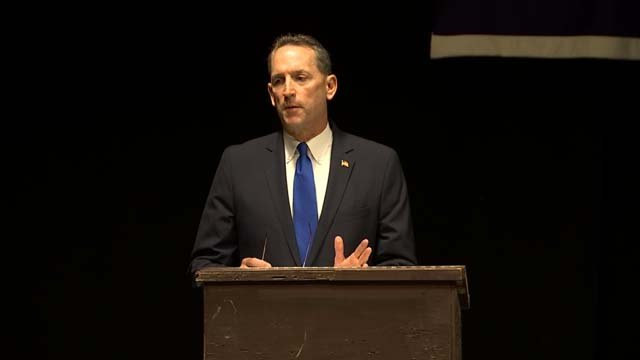 Senator Paul Doyle defended his decision to cross party lines at a meeting Wednesday night (WFSB)