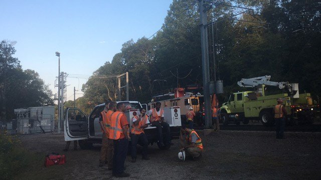A rail repair worker was shocked while fixing lines in Guilford, according to Amtrak police. (WFSB)