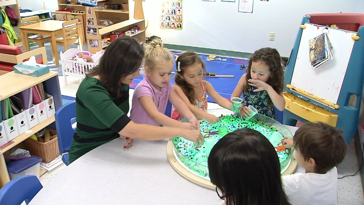 Children tested toys at the Goddard School in Orange on Thursday. (WFSB)