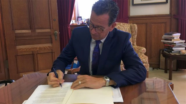 Gov. Dannel Malloy vetoed the Republican budget on Thursday.  (@GovMalloyOffice)