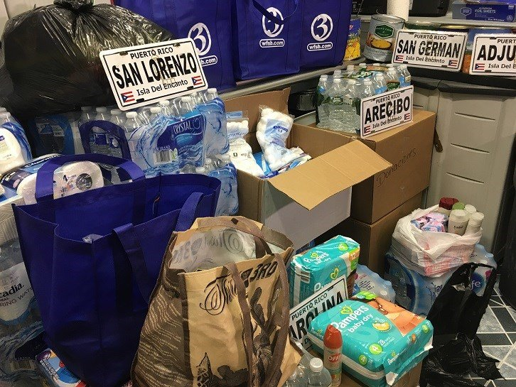 Supplies being collected for relief in Puerto Rico.  (WFSB)