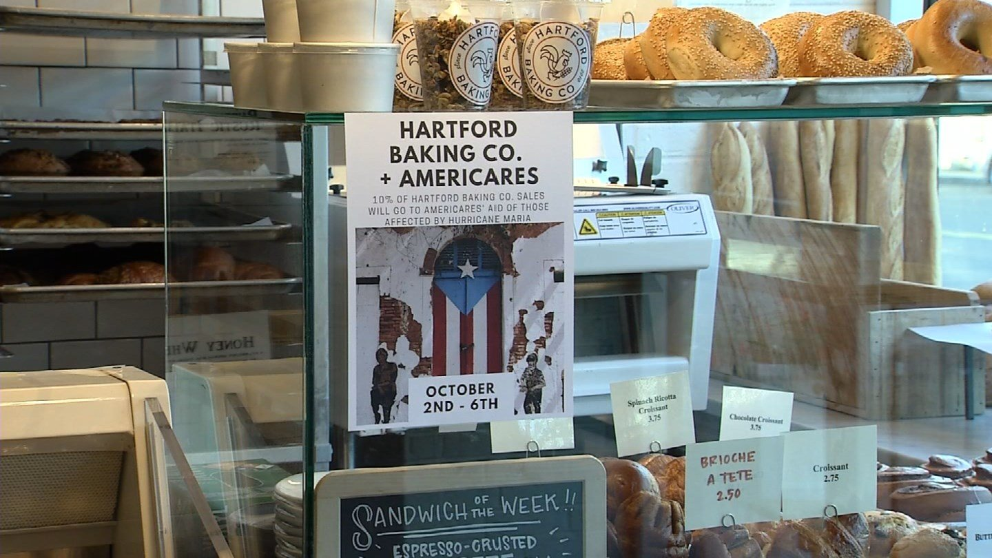 The Hartford Baking Company said it is donating a percentage of its proceeds to Hurricane Maria relief efforts. (WFSB)