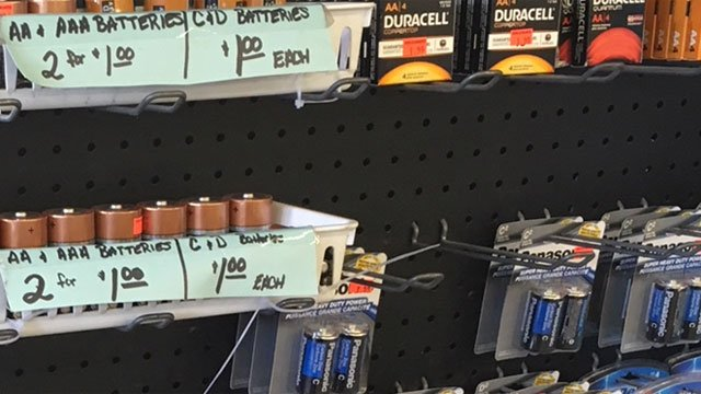 One lady buys $100 worth of batteries at Surplus Unlimited in Norwich. (WFSB)