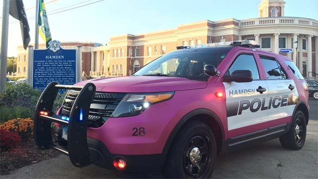 Two Hamden police cruisers are going pink for Breast Cancer Awareness Month (Hamden Police Dept.)
