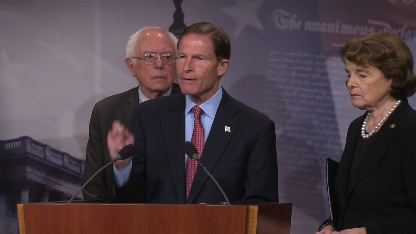Sen. Richard Blumenthal joined other senators in calling for a ban on bump stocks. (CBS)