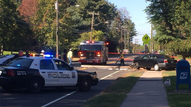 Bloomfield Avenue in Hartford was closed due to a crash on Wednesday afternoon. (WFSB)