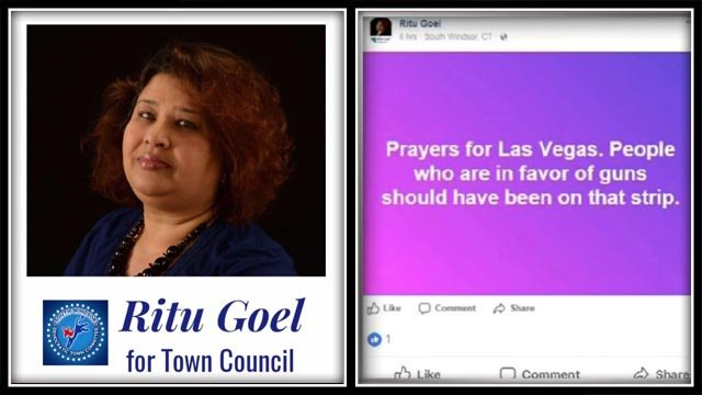 A Facebook post by South Windsor town council candidate Ritu Goel is causing controversy. (Facebook)