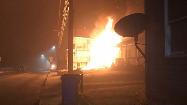Firefighters fought a fire at a multi-family home in Main Street in Jewett City. (iWitness)