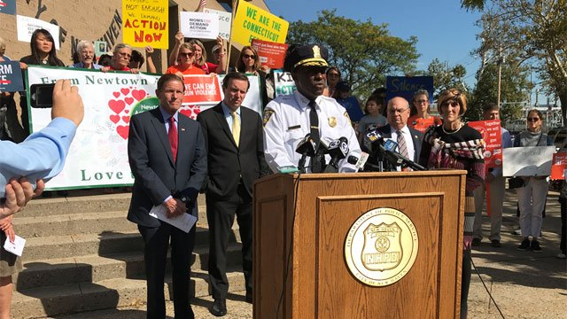 New Haven Police Chief Anthony Campbell speaks at a gun control rally on Friday. (WFSB)